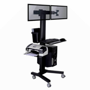 TygerClaw LVW8606 Mobile Dual Monitor TV Stand with PC Holder - Black