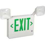 Howard Lighting Exit/Emergency, 120/277V, 6V Battery, Plastic, White Reflector, Green Letter