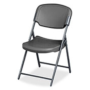 Iceberg Folding Chair Charcoal Pack of 4 Rough 'N Ready Series