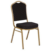 Iceberg Banquet Stacking Chair - Crown - Black Pattern - Gold Vein Frame - Pack of 4