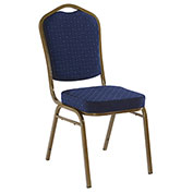 Iceberg Banquet Stacking Chair - Crown - Navy Blue Pattern - Gold Vein Frame - Pack of 4