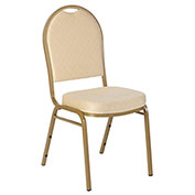 Iceberg Banquet Stacking Chair - Dome - Tan Pattern - Gold Frame - Pack of 4