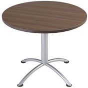 "Iceberg 36"" Round Edgeband Café Table - 29""H Natural Teak Top with Silver Base - iLand Series"