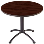 "Iceberg 36"" Round Edgeband Café Table - 29""H Mahogany Top with Charcoal Base - iLand Series"