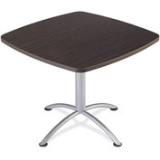 "Iceberg 36"" Square Edgeband Café Table - 29""H Gray Walnut Top with Silver Base - iLand Series"