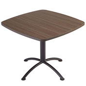 "Iceberg 36"" Square Edgeband Café Table - 29""H Natural Teak Top with Silver Base - iLand Series"