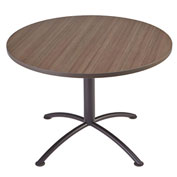 "Iceberg 42"" Round Edgeband Café Table - 29""H Natural Teak Top with Silver Base - iLand Series"