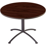 "Iceberg 42"" Round Edgeband Café Table - 29""H Mahogany Top with Charcoal Base - iLand Series"