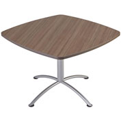 "Iceberg 42"" Square Edgeband Café Table - 29""H Natural Teak Top with Silver Base - iLand Series"