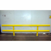 "Ideal Shield® Heavy Duty Two-Line Guardrail, Steel & HDPE Plastic, Yellow, 120"" x 27"""