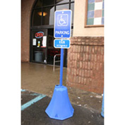"Ideal Shield® Octagon Sign Base with 98""H Post, Blue, 8""W x 20""H Base"