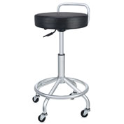 Seville Classics Pneumatic Work Stool with Swivel Cushioned Seat - Black