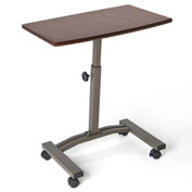 Seville Classics Mobile Laptop Desk Cart - Adjustable Height - Walnut
