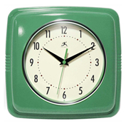 "Infinity Instruments 9.5"" Wall Clock, Green Retro"