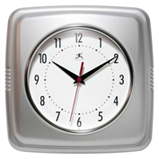 "Infinity Instruments 9.5"" Wall Clock, Silver Retro"