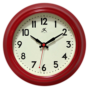 "Infinity Instruments 8.5"" Wall Clock, Red Metal Retro"