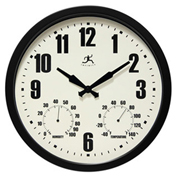 "Infinity Instruments 14"" Wall Clock, Black Outdoor Weather"
