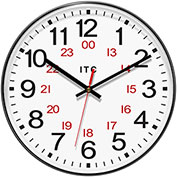 "Infinity Instruments 12"" Round Prosaic 12/24 Hour Wall Clock - Black"