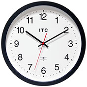 "Infinity Instruments 14"" Round Atomic Time Keeper Wall Clock - Black"