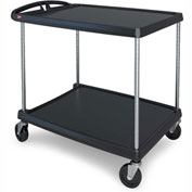 "Metro myCart™ Two-Shelf Utility Cart with Chrome-Plated Posts - 34x27"" Shelves Black"