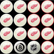 Detroit Redwings Home Vs. Away Billiard Ball Set