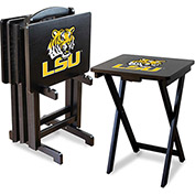 Louisiana State University Four TV Snack Tray Tables with Storage Rack