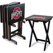 Ohio State Four TV Snack Tray Tables with Storage Rack