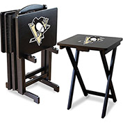 Pittsburgh Penguins Four TV Snack Tray Tables with Storage Rack