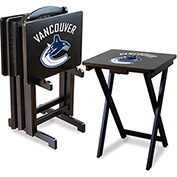 Vancouver Canucks Four TV Snack Tray Tables with Storage Rack