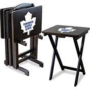 Toronto Maple Leafs Four TV Snack Tray Tables with Storage Rack