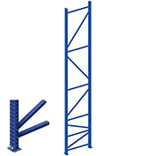 "Interlake Mecalux Pallet Rack Tear Drop Upright Frame, Bolted, 96""H x 42""D, 24,571 Lbs. Cap., Blue"