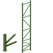 "Interlake Mecalux Pallet Rack Tear Drop Upright Frame, Bolted, 192""H x 42""D, 24,571 Lbs. Cap., Green"