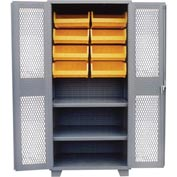 Jamco Bin Cabinet DH260-GP - 12 Bins, 14 ga. Welded Expanded Mesh Door 2 Shelves, 60x24x78 Gray