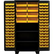 "Jamco Bin Cabinet DN236-BL - 14 ga. All Welded 2 Shelves 104 Bins 36""W x 24""D x 78""H Black"