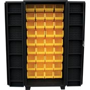 "Jamco Bin Cabinet DV248-BL - 14 ga. 4"" Deep Pocket Door 45 Bins, 48""W x 24""D x 78""H, Black"
