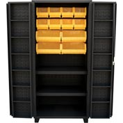 "Jamco Bin Cabinet DW260-BL - 14 Gauge 4"" Deep Pocket Door 2 Shelves 18 Bins, 60x24x78 Black"
