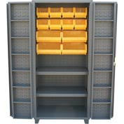 "Jamco Bin Cabinet DW260-GP - 14 Gauge 4"" Deep Pocket Door 2 Shelves 18 Bins, 60x24x78, Gray"