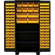 "Jamco Bin Cabinet DX248-BL - 14 ga. All Welded 2 Shelves 144 Bins 48""W x 24""D x 78""H Black"