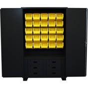 "Jamco Bin Cabinet HN248-BL - 14 ga. All Welded w/6 Drawers, 20 Bins 48"" x 24"" x 78"" Black"