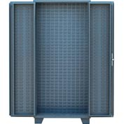 "Jamco Bin Cabinet HO236-GP - 4"" Deep Doors, Louvered Doors & Interior, No Bins, 36"" x 24"" x 78"" Gray"