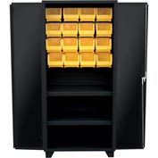 "Jamco Bin Cabinet HY236-BL - 14 ga. All Welded 2 Shelves 16 Bins, 36""W x 24""D x 78""H Black"