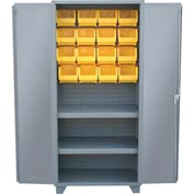 "Jamco Bin Cabinet HY248-GP - 14 ga. All Welded 2 Shelves, 20 Bins, 48""W x 24""D x 78""H Gray"