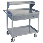 Two Drawer Mobile Service Bench with Riser - 24 x 48