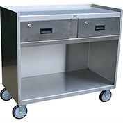 "Jamco Stainless Steel Mobile Cabinet YK236 U5 with 2 Drawers 37""L x 25""W, 5"" Casters Steel Rigs"