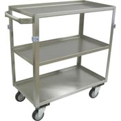 "Jamco Stainless Steel Cart ZH236 3 Shelf All Lips Up 36x22 4"" Casters Steel Rigs"