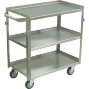 "Jamco Stainless Steel Cart ZJ236 3 Shelf 3 Lips Up 1 Down, 36x22 4"" Casters Steel Rigs"