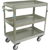 "Jamco Stainless Steel Cart ZN124 3 Shelf 24x16 4"" Casters Stainless Rigs"