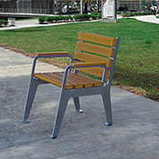 Jayhawk Plastics Recycled Plastic Plaza Patio Chair Silver Frame with Cedar Slats