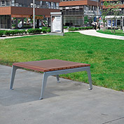 Jayhawk Plastics Recycled Plastic Plaza Outdoor Table - Silver Frame with Redwood Slats
