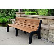 Jayhawk Recycled Plastic 4 ft. Bench with Back - Newport Series - Cedar